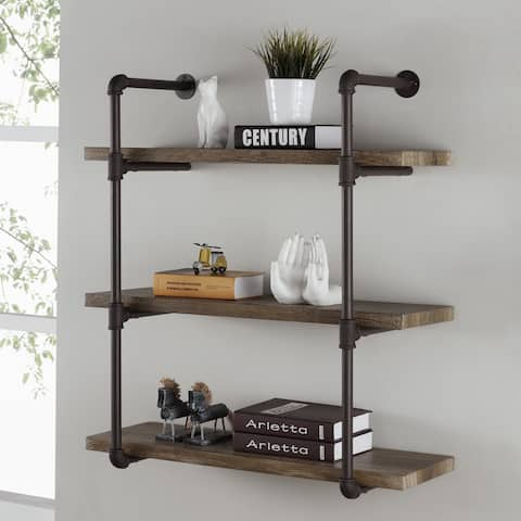 Danya B. 3-tier Faux Wood Industrial Pipe Wall Shelf