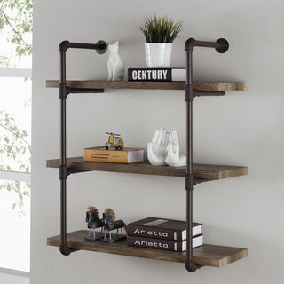 Link to Danya B. 3-tier Faux Wood Industrial Pipe Wall Shelf Similar Items in Accent Pieces