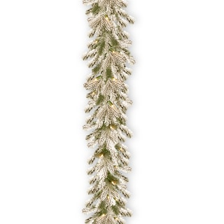 National Tree Company Snowy Heffield Spruce 9' Garland with Clear Lights