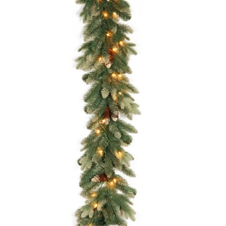 National Tree Company Green Plastic 9-foot Copenhagen Spruce Garland with Clear Lights