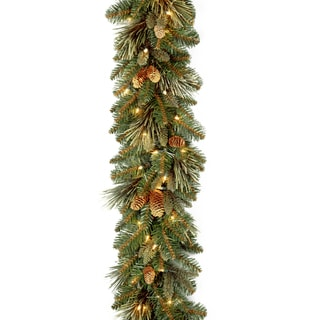 9 ft. Carolina Pine Garland with Battery Operated LED Lights
