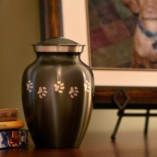 Grey Brass Paw Print Small Pet Urn