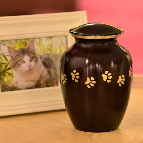 Brown Brass Paw Print Small Pet Urn