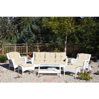 Jeco White Wicker 6-piece Seating Set with Tan Cushions