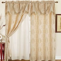 RT Designers Collection Rosetta Jacquard 84-inch Double-rod Pocket Curtain Panel with Attached 18-inch Valance