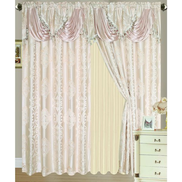 RT Designers Collection Rosetta Jacquard 84 Inch Double Rod Pocket Curtain  Panel With Attached