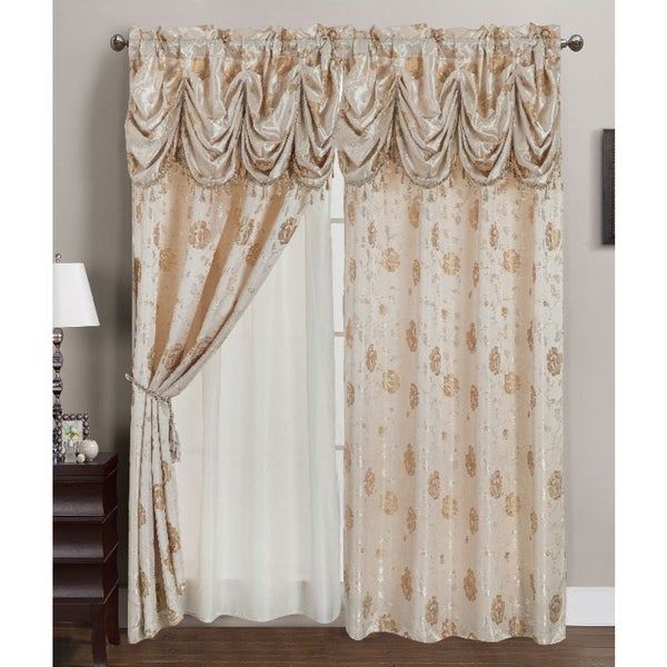 Rt Designers Collection Kelly Jacquard 84 Inch Double Rod Pocket Curtain Panel With Attached 18