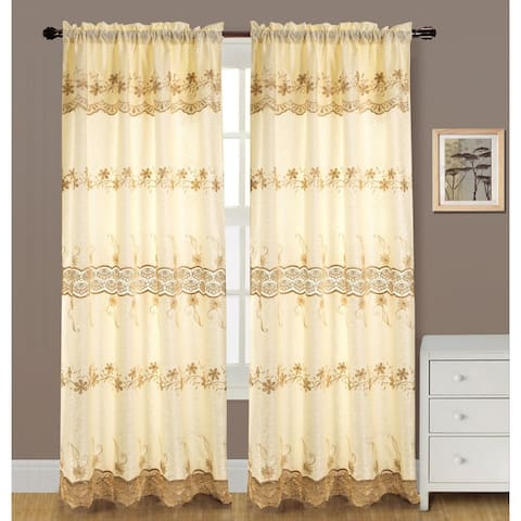 RT Designers Collection Alisa 84-inch Macrame Rod Pocket Curtain Panel with Attached 18-inch Valance