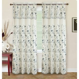 RT Designers Collection Bentley Embroidered 84-inch Double Rod Pocket Curtain Panel with Attached 18-inch Valance