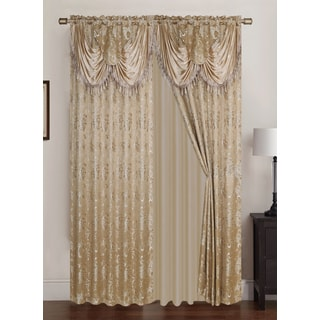 RT Designers Collection Clayton Jacquard 84-inch Double Rod Pocket Curtain Panel Pair with Attached 18-inch Valance