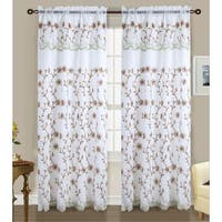 RT Designers Collection Easton Embroidered 84-inch Double Rod-pocket Curtain Panel with 18-inch Attached Valance