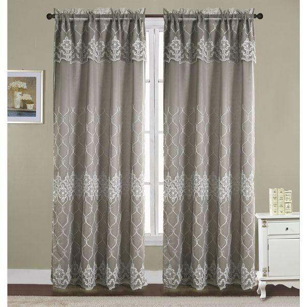 Rt Designers Collection Emmett Embroidered 90 Inch Double Rod Pocket Curtain Panel With Attached 18
