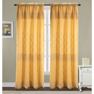 Emmett Embroidered 90-inch Rod Pocket Single Curtain Panel w/ Attached 18-inch Valance