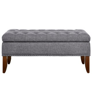 Grey Upholstered Wood Hinged Top Button Tufted Storage Bed Bench