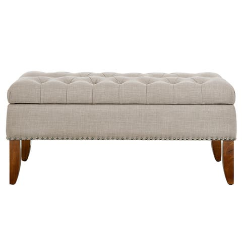 Beige Hinged Top Button-tufted Storage Bed Bench