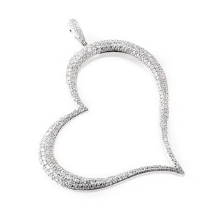 Glamorous 18K White Gold Diamond Heart Pendant