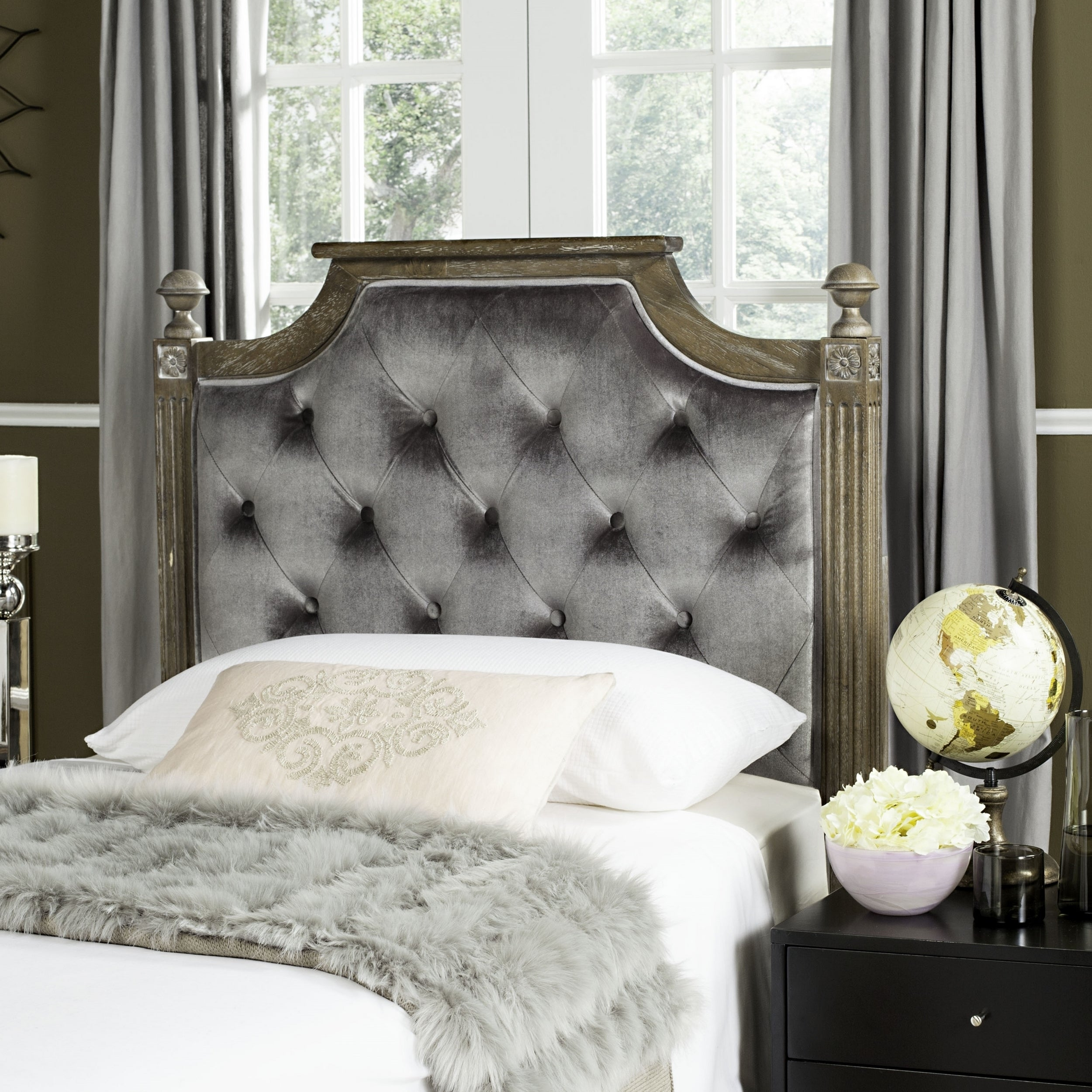 Safavieh Rustic Wood Grey Tufted Velvet Headboard (Twin ...