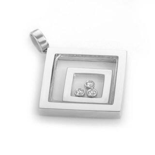 18K White Gold Diamond Shaped Floating Diamond Pendant CPD7273