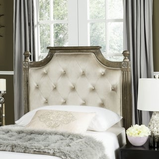 Shop Safavieh Rustic Wood Grey Tufted Velvet Headboard ...