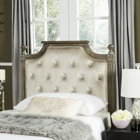 Safavieh Rustic Wood Beige Tufted Velvet Headboard (Twin)