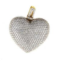 18K Yellow Gold Diamond Pave Heart Pendant CPD8530