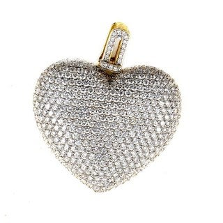 18K Yellow Gold Diamond Pave Heart Pendant CPD8530