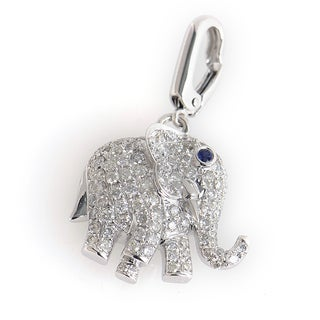 18K White Gold Diamond Elephant Chainless Pendant