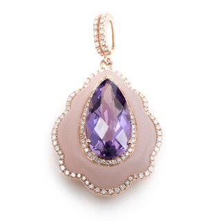 18K Rose Gold Quartz & Amethyst Enhancer Pendant PAP69451RMRZAM