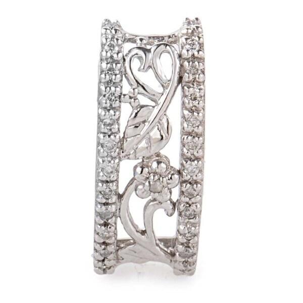 14K White Gold Leafy Diamond Pendant P7796W