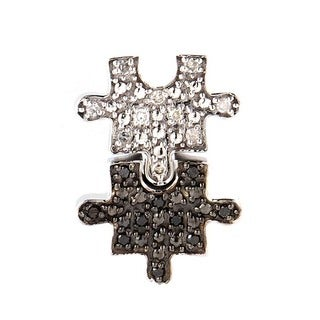 Women's 14K White Gold Black & White Diamond Puzzle Pendant P9436W
