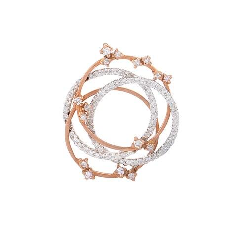 14K White & Rose Gold Openwork Diamond Pendant P8536WR