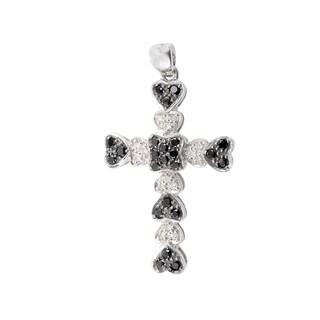 14K White Gold Black & White Diamond Cross Pendant CR4-0765BL