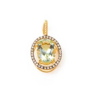 10K Yellow Gold Green Amethyst & Diamond Pendant