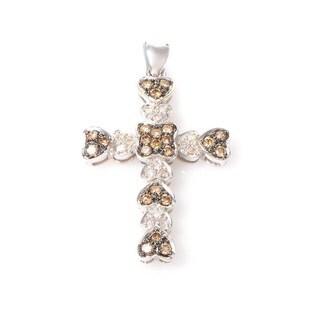 Women's 14K White Gold Brown and White Diamond Cross Pendant