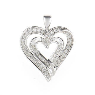 10K White Gold Diamond Heart Pendant HT1-07588P