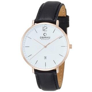 Obaku Men's Toft Rose Gold Tone Stainless Steel Black Leather Watch V181GDVWRB