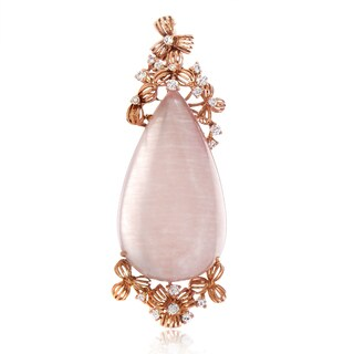 18K Rose Gold Diamond & Quartz Enhancer Pendant PD8-15181RQZ
