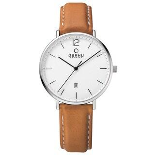 Obaku Men's Toft Analog Quartz Stainless Steel Cognac Leather Watch V181GDCWRZ