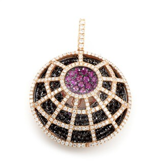 18K Rose Gold Multi-Diamond & Pink Sapphire Spiderweb Pendant