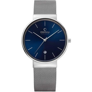 Obaku Men's Stainless Steel Mesh Sunray Blue Dial Watch V153GDCLMC