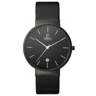 Obaku Mens All Black Leather Strap Watch V153GDBBRB