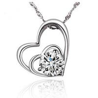 "A&M Designer Inspired Heart Necklace With Centered CZ; 18"", Silver"