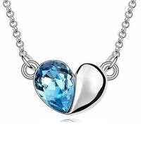 "Sapphire Pear Drop Heart Necklace; 18"", Silver - White"
