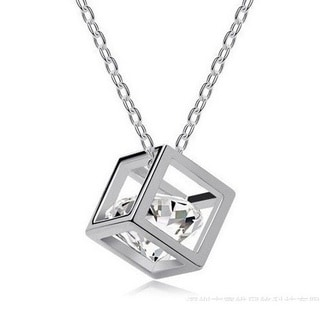 3D Cube Necklace 18 Silver