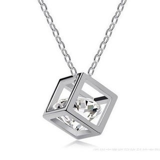"3D Cube Necklace; 18"", Silver"