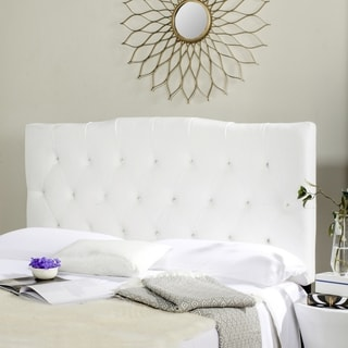 safavieh axel white tufted headboard queen