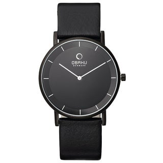 Obaku Men's Leather Strap Black Dial Quartz Watch V143GXBBRB