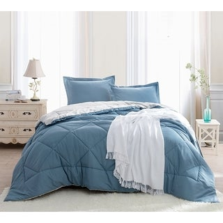 BYB Smoke Blue/Silver Birch Reversible Comforter (Shams Not Included)