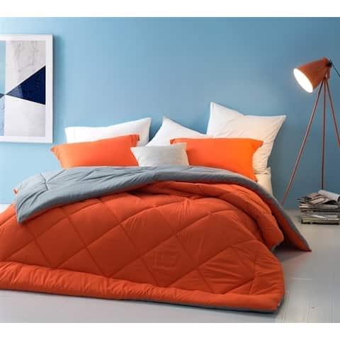 BYB Orange/Grey Reversible Comforter (Shams Not Included)