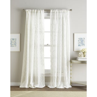 Hourglass White Embroidered Sheer Curtain Panel